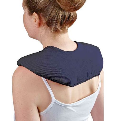 Woman with a Wheat relief pack on her shoulders and upper back