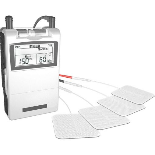 Picture of a tens machine laid out on a white background with electrodes