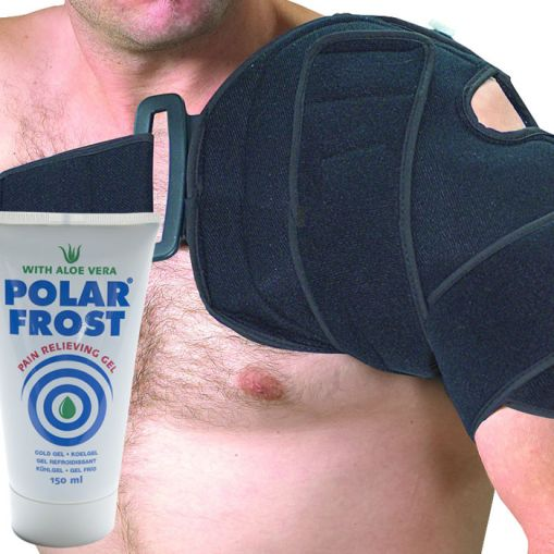 a man using a compression for ice or heat on his shoulder